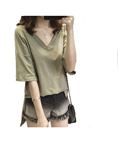 YOGLY Damen V - kragen - Frau Reine größe Frauen Locker, kurzärmeliges T - shirt bluse - boom Grün