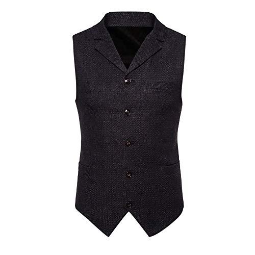 Blusa de Hombre, Polo de Hombre, Camisetas de Hombre, BaZhaHei, Botón de los Hombres Chaqueta de la Chaqueta sin Mangas Impresa Ocasional Blusa de Traje británico Chaleco Camisetas de Hombre