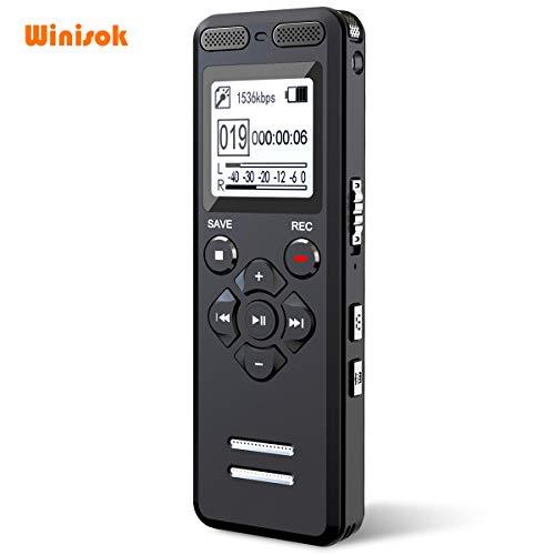 Winisok Digitales Diktiergerät, 1536 kbps hohe Aufnahmequalität, 8 GB, Lärmreduzierung, MP3, automatisch aktivierter Recorder, wiederaufladbarer Akku, geeignet für Meetings, Vorträge, Interviews