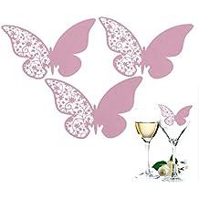 50pcs Mariposa Lugar Escort Vino Tarjetas de papel para bodas, color rosa