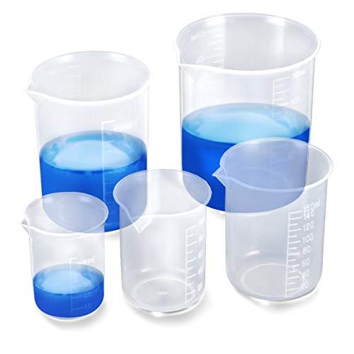 BUZIFU 6 Stück Messbecher Plastik, Transparent Labor Messbecher Set 25ml 50ml 100ml 150ml 300ml 500ml Labor Werkzeuge für Flüssigkeit (Flüssigkeit Messbecher Metrische)