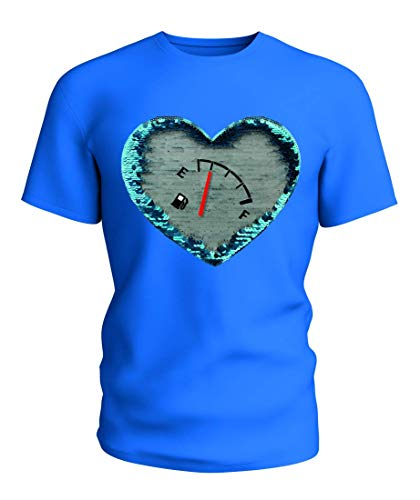 T-Shirt Wende Pailletten Kraftstoff Meter- Meter- INDIKATION- Ende- VOLL- Kraftstoff- SPURWEITE- Benzin- FÜLLUNG- Auto- MESSUNG- ANZEIGE in Blau   104-5XL Kraftstoff Meter
