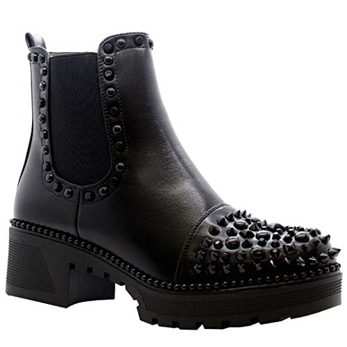 Ladies Womens Studded Black Chelsea Ankle Boots Chunky Platform Low Mid Heels New Goth Punk Shoes Size 3 to 8
