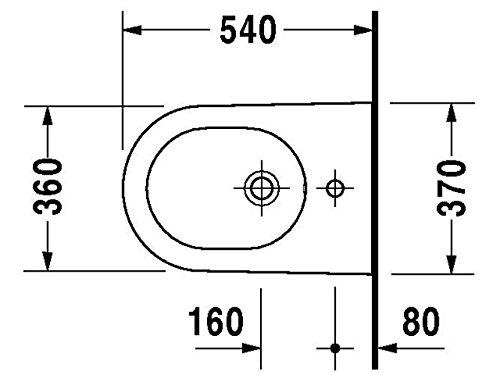 Duravit Starck 2 Wand-Bidet weiß 370 x 540 mm, mit Wondergliss, 22711500001