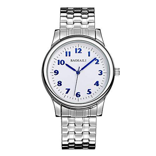 Herrenuhren Elastisch Arabische Einfaches Silber Armbanduhren Für Herren Edelstahl Casual