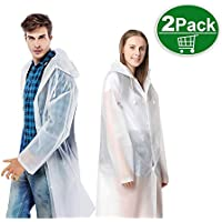 TATAFUN Waterproof Portable Raincoat,Clear and Reusable Rain Resistant Poncho with Hoods and Sleeves for Travel, Festivals, Outdoors,Mountaineering(2pack)