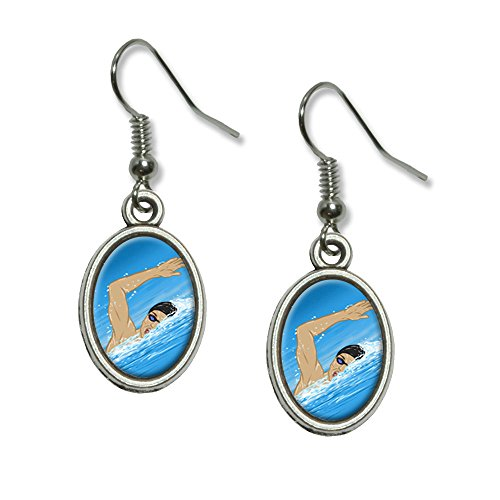 (Schwimmen – Swim Freestyle Pool Sport Neuheit Dangling Drop oval Charm-Ohrringe)
