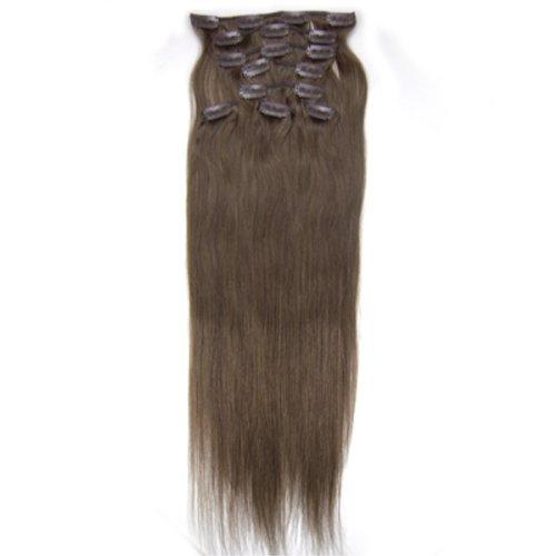 100% cheveux remy Lot de 8 50,8 cm Ash Brown (# 08) droite cheveux clip dans Extension de cheveux Poids : 100 g