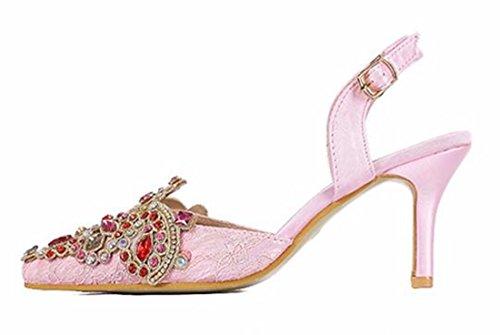 QIYUN.Z Ete Des Femmes Bout Pointu Strass Bride Cheville Talon Bas Stylets Sandales Chaussures Rose