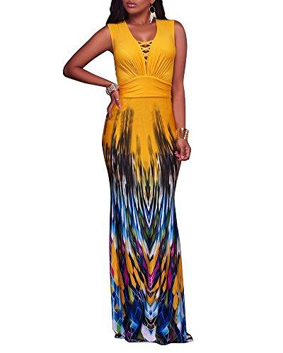 Damen V-Ausschnitt Lang Abendkleid Meerjungfrau Ballkleid Festkleider Maxikleid Gelb
