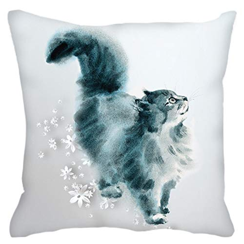 Mad By Design (Cat Mad Designs Luxuriöses Designer-Kissen, Samt, Wasserfarben, Katze, 40 x 40 cm)