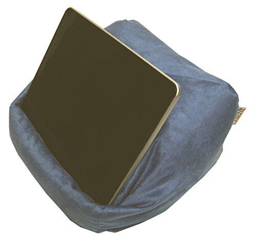 LESEfit soft antirutsch Lesekissen, Tablet Kissen Halter, echter Sitzsack für iPad * Buch & eReader (multifunktionale Quader-Form) für Bett & Sofa - Wildleder-Imitat blau