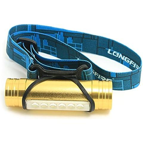 lokep USB batteria lampada frontale a LED, Mini leggero torcia, multifunzione testa lampada può essere un Power Bank, IPX6impermeabile e corpo in lega di alluminio, Uomo, Gold