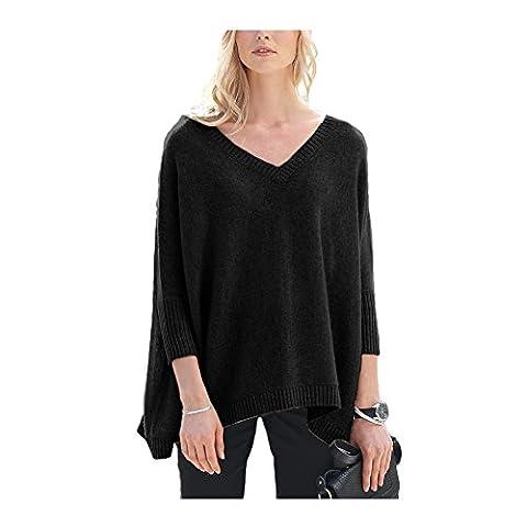 Parisbonbon Women's 100% Cashmere V-Neck Sweater Colour Black Gray Size 16