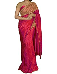 Samarth Fab Women's Paper Silk Saree ( Paper Rani1 Saree_R_Magenta Pink_Free Size )