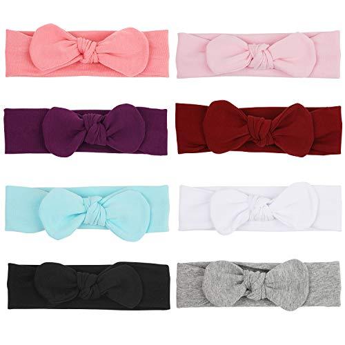 COUXILY 8 Stück Baby Mädchen Stirnband Haarband Baby Stirnbänder Turban Haarband Stirnband Kopfband Babyschmuck Head wrap 100% Baumwolle (01, M 1-4 Jahre)