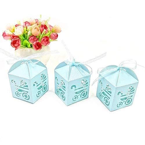 JZK 48 x Blau Pearly Papier Süßigkeiten Schachtel Gastgeschenk Geschenkbox, Tischdeko für Junge Geburtstag Party Taufe Babyparty Baby Shower Kinderparty Garten Party