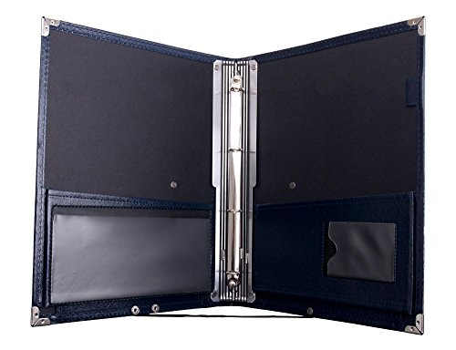 Classic Cantabile Notenmappe Deluxe Blau (stabiles Kunstleder, Handschlaufe, Noten bis DIN A4, herausnehmbares Ringelement, Schutzecken)