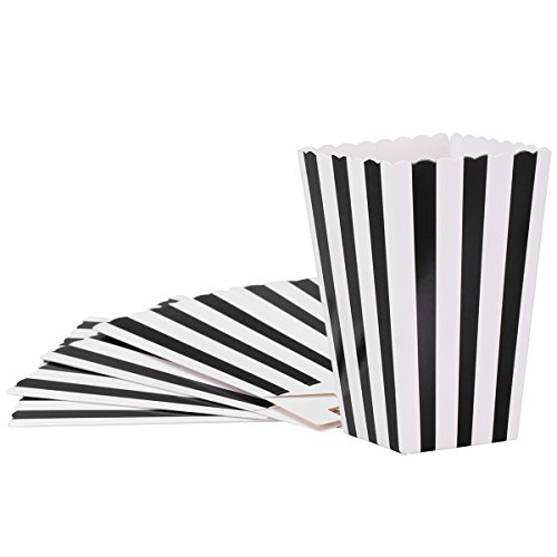 Popcorn-Kästen, Süßigkeit-Behälter-Papierstreifen-Kasten für Film-Partei-Bevorzugung, 24pcsBlack