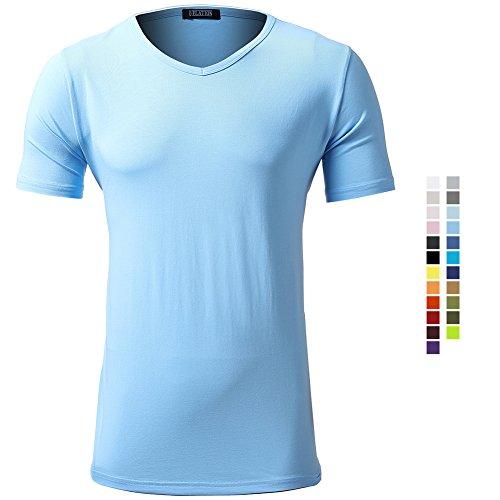 Casual Herren T-Shirt Kurzarm Shirt Klein V-Ausschnitt Slim Fit Einfarbig Elastisch Figurbetont Meliert Tee Jungendliche Vintag Shirts Elastisch See Blau 3XL