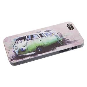 Premium - Housse de protection pour iPhone 5s et iPhone 5 (modèle bus rétro Volkswagen vert)
