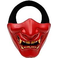 FOONEE Máscara de Media Cara, Disfraz de Halloween, Disfraz de BB Evil Demon Monster Kabuki Samurai Hannya Oni Mitad Cubierta Airsoft y Prop Mask – Talla única