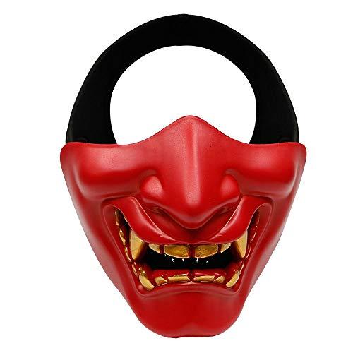 Aolvo Samurai Maske Oni Demon Softair Maske Half Face Hannya Kabuki Gesicht Maske Monster Evil Prop Maske für maskenbälle Ball/Party/Halloween/CS Krieg Spiel/BB Gun Rot