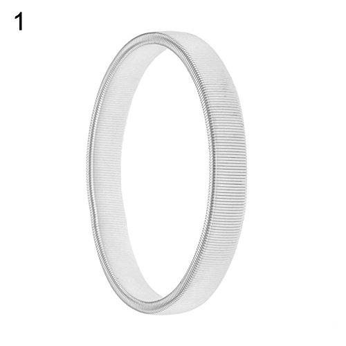 Livecity® Herren einfach Spring Manschette Barkeeper Elastic Ring Metall Armband Armreif massiv Farbe 3Farben, Silber, Einheitsgröße