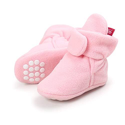 Lacofia Kleinkind Baby Jungen Mädchen Rutschfest Weiche Sohle Slipper Stiefel Winter Krabbelschuhe Rosa 6-12 Monate
