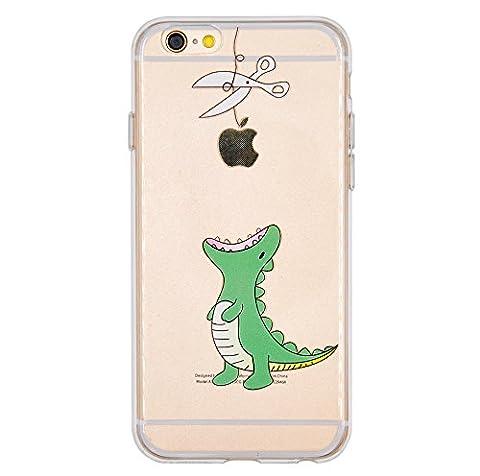 Coque iPhone 6, iPhone 6S, OFFLY Transparente Souple Silicone TPU étui d' Protection, Cute et Motif Fantaisie pour Apple iPhone 6 / 6S - Petits Dinosaures
