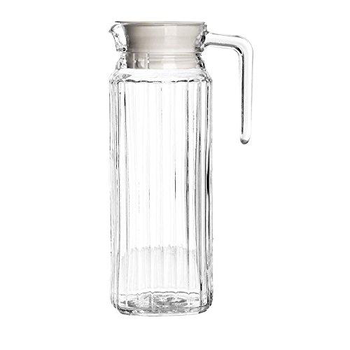 Get Goods Set aus 2großen 1-Liter-Glaskrügen von Ravenhead, Glaskrüge mit Deckel für Küche, Kühlschrank, Wasser, Milch, Saft