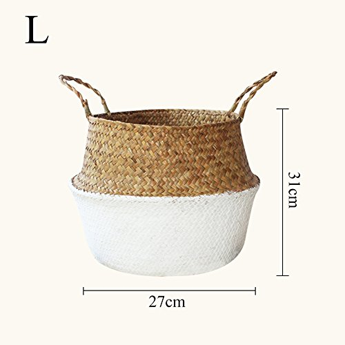 iBaste Aufbewahrungskorb aus Seegras Geflochten Korb mit Griff Einkaufskorb Blumentöpfe Aufbewahrungskorb für Spielzeug Wäsche Lagerung Nordischer Stil-L