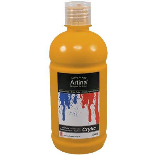 Artina Crylic Acrylfarben - hochwertige Künstler-Malfarbe in 500 ml Flaschen in Gold & weitere Farben