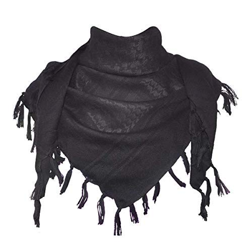 MiaoMa más grueso al aire libre 100% algodón Militar táctica Shemagh desierto Kufiyya pañuelo Wrap, negro