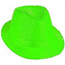 takestop® CAPPELLO BORSALINO PAILLETTES verde neon fluo SPETTACOLO TEATRO  PAILLETTE BALLO CAPPELLINO RASO UOMO DONNA eece22961dbc
