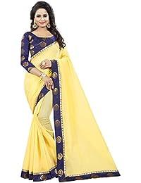 Vastrang Women's Chanderi Cotton Saree With Blouse Piece(1312ROSYLW_Light Yellow_Free Size)