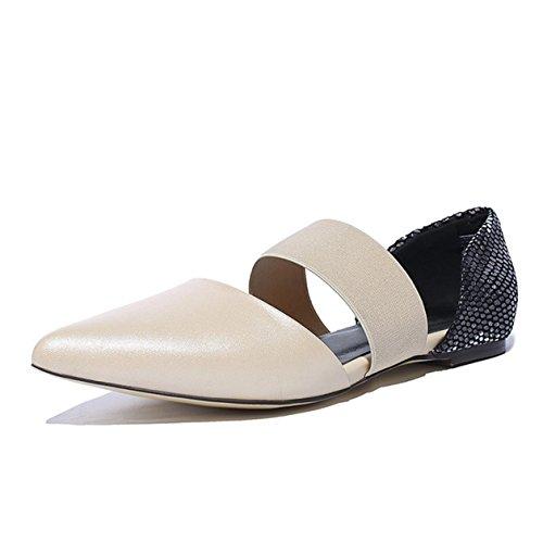 WSS chaussures à talon haut Baotou square sandales plates de la sandale élastique femme apricot