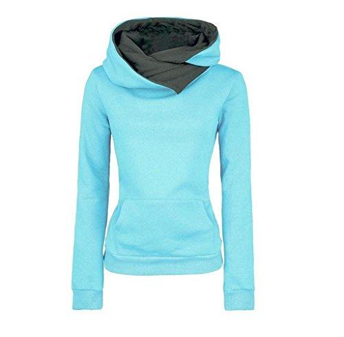 Rcool Damen Langarm Baumwoll Mischung Sweatshirt Hoodie Sweater mit Kapuze Baumwolle Mantel Pullover Kapuzenpullover Blau (S)