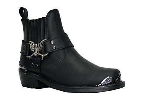 Grinders Hommes Noir Style Biker Cowboy Bottes Aigle Lo occidentaux Bottes en cuir
