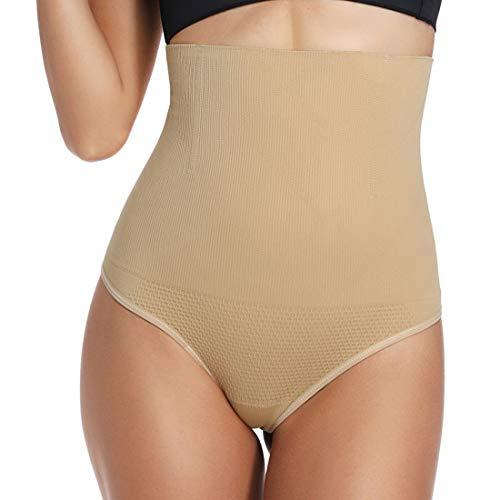 Woweny Unterhosen Tanga Damen Hohe Taille Taillenformer Elastisch Slips Panties Miederpants Shapewear, Beige, L -