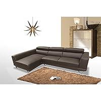 Sofá de tres plazas con chaiselongue izquierda tapizado en polipiel color chocolate