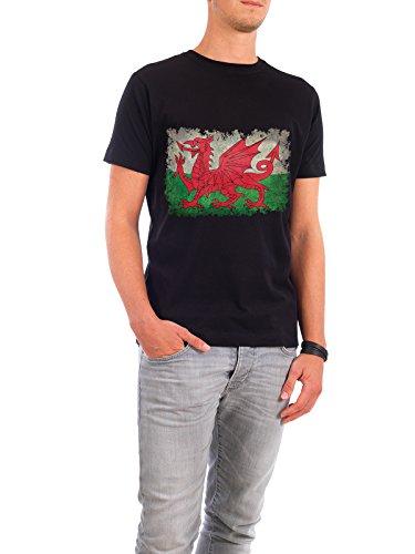 """Design T-Shirt Männer Continental Cotton """"Flag of Wales"""" - stylisches Shirt Tiere Reise Reise / Länder von Bruce Stanfield Schwarz"""