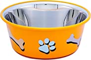 ELTON Paw & Bone Cutie Bowl (Yellow) Dog Bowls Export Quality Inside Stainless Steel Dog Food Bowl Feeder Bowls Pet Bowl for