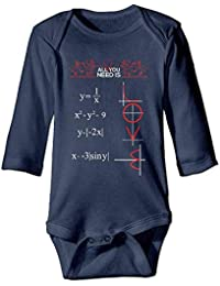 All You Need is Love and Math Unisex Boys Girls Sleepwear Baby Clothing