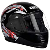 JMD Helmets Elegant Elegant Graphic, Full Face Helmet (Black and Red, L)