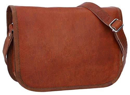 Gusti Umhängetasche Leder - Taylor 9,7\'\' Handtasche Nature Collegetasche Businesstasche Messengerbag Aktentasche Vintage Braun