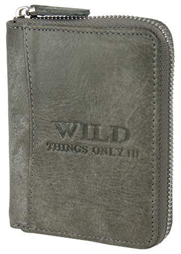 Echt-Leder Geldbörse mit RFID-Schutz - Herren Portmonee mit umlaufendem Reißverschluss, Kartenfächern und Münzfach in praktischer Geschenkbox (Grau) -