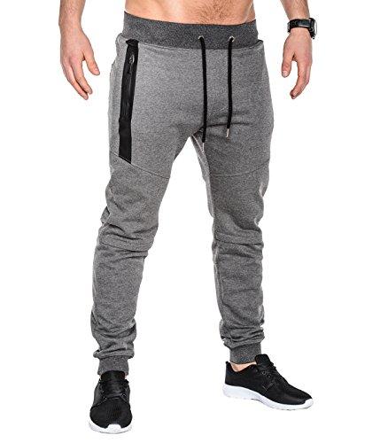 BetterStylz SlvrCatBZ Pantalon de Jogging Track Pant Sportswear Tech Fleece Jogger Sport fermeture éclair UNI Homme div. Color (S-XXL) (Small, Gris Foncé)