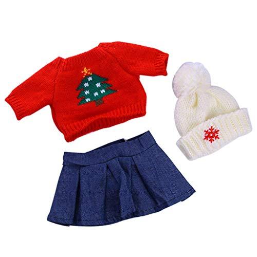 Pullover T-Shirt Kleid Hut für 45,7 cm American Girl AG Puppen-Stil Weihnachtsbaum Set mit 3 Stück (American Girl Puppe Rotes T-shirt)