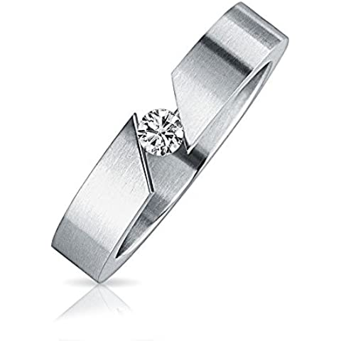 Bling Jewelry in acciaio inossidabile .1ct Tension Set anello Unisex con incisione gratuita